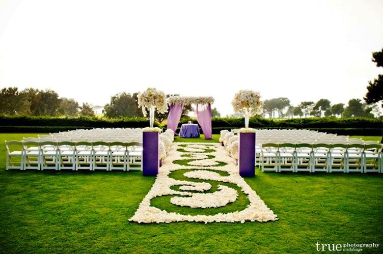 Unique Outdoor Wedding Ceremony Ideas: Unique Wedding Ceremony Aisle Purple Ivory Outdoor
