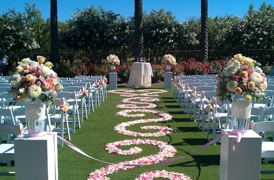 rose petal aisle runner for outdoor wedding ceremonies romantic