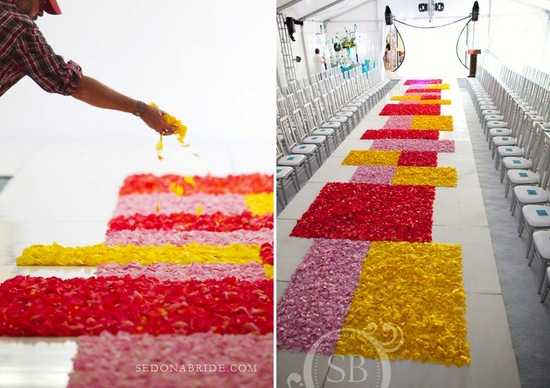 photo of unique wedding ceremony idea geometric aisle runner