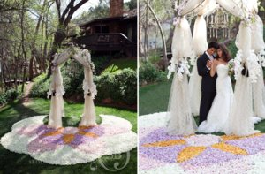 photo of pretty wedding ceremony aisles rose petal carpets 1