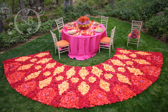 photo of unique wedding ceremony aisles reception decor petal carpets 1