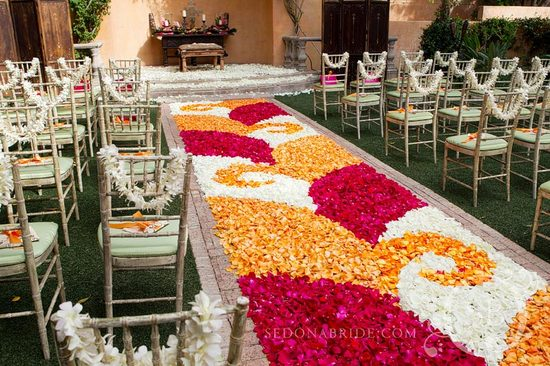 rose petal aisle runner for outdoor weddings