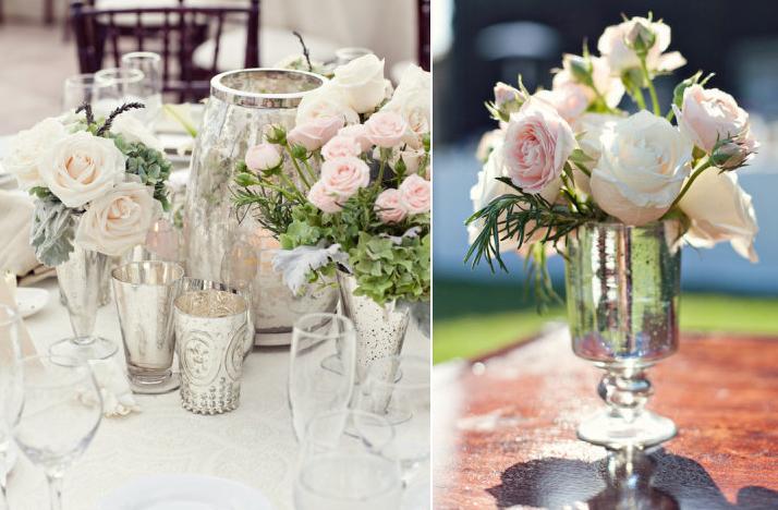 Mercury glass wedding decor elegant reception tables 3 for Glass tables for wedding reception