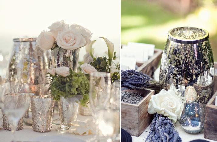 Mercury glass wedding decor elegant reception tables 2 for Glass tables for wedding reception