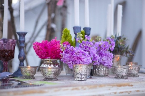 mercury glass wedding decor inspiration bright flowers
