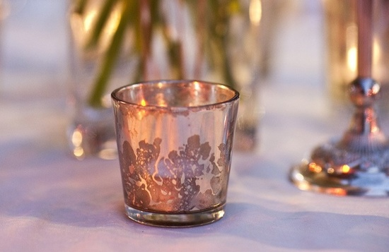 elegant wedding reception decor Mercury Glass votives 1