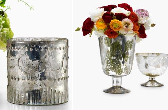photo of mercury glass wedding reception decor centerpiece vases 1