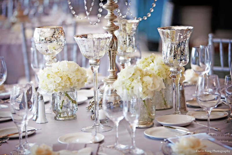elegant wedding reception decor centerpiece vases mercury
