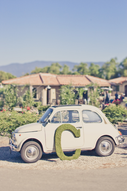 Elegant-real-weddings-lavender-peach-wedding-colors-moss-monogram-vintage-car.full
