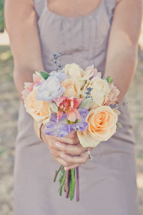 wine country wedding peach lavender bridesmaid bouquet
