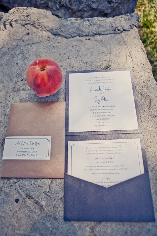 elegant real weddings lavender peach wedding colors invitation suite 2