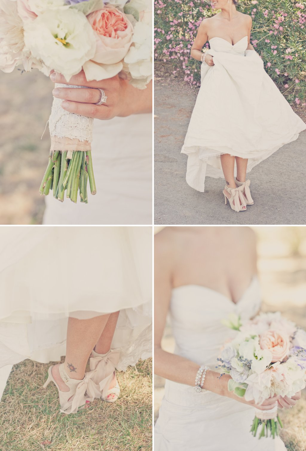 outdoor wedding inspiration peach lavender cream bridal flowers shoes