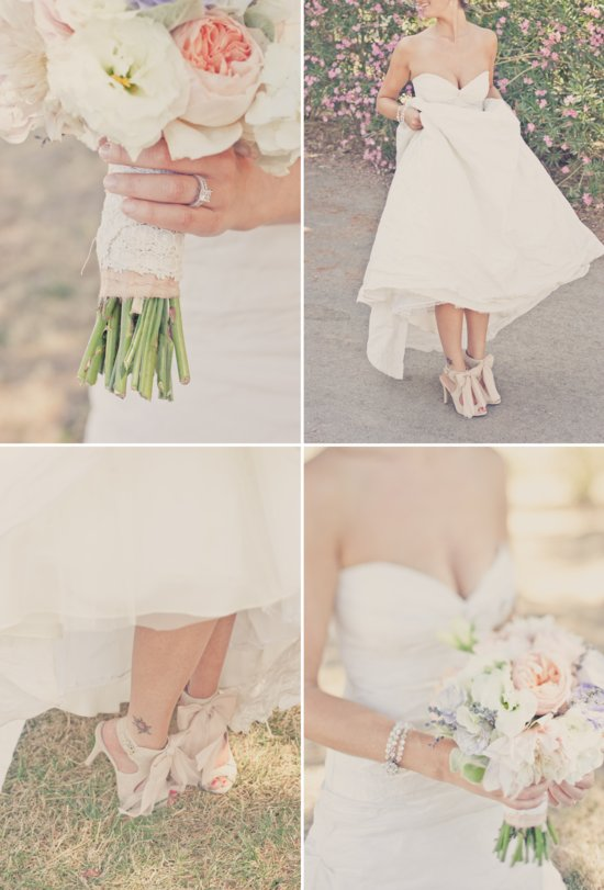 elegant outdoor wedding inspiration peach lavender cream bridal flowers shoes