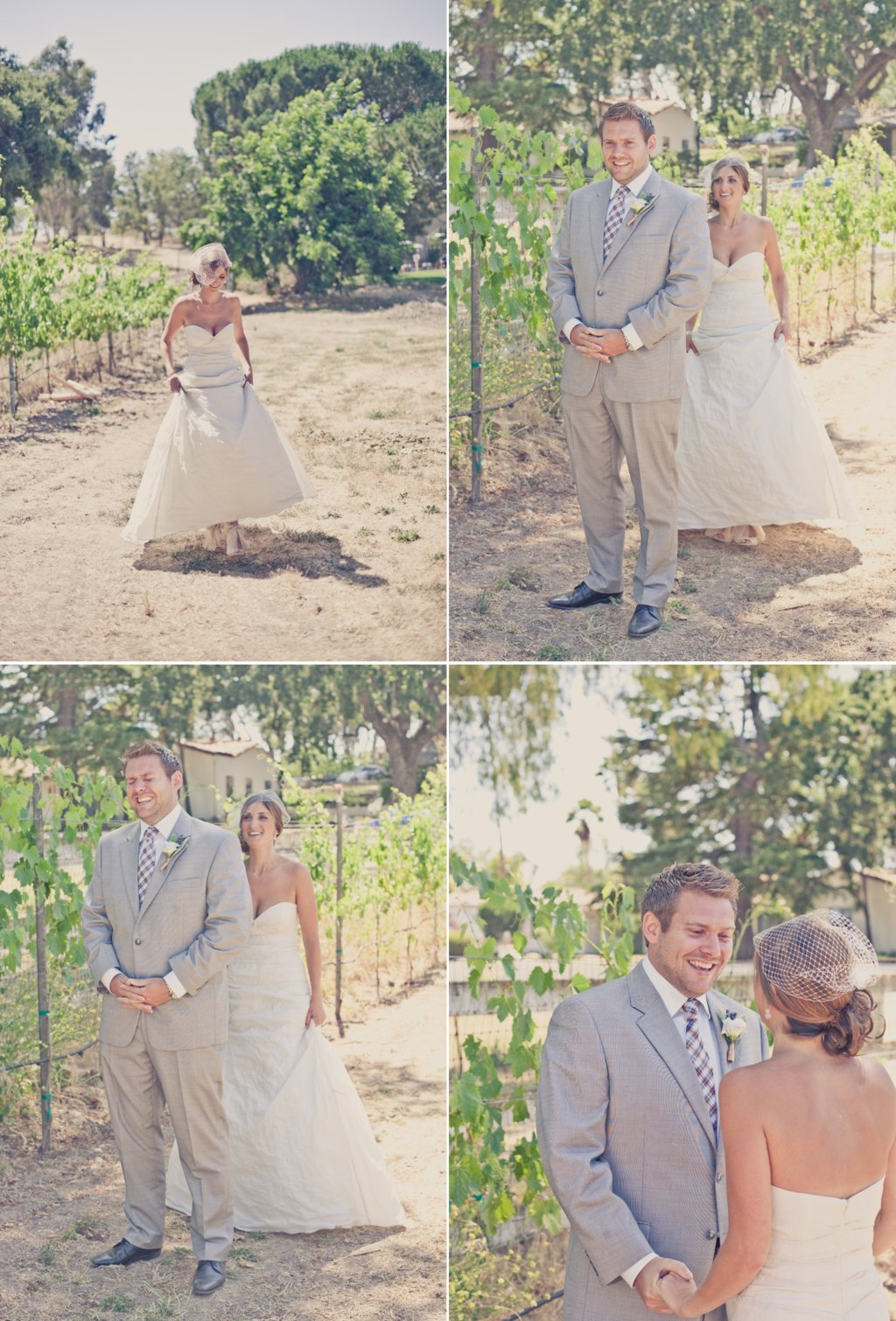 Elegant-real-weddings-peach-lavender-outdoor-wedding-first-look-between-bride-and-groom-1.full