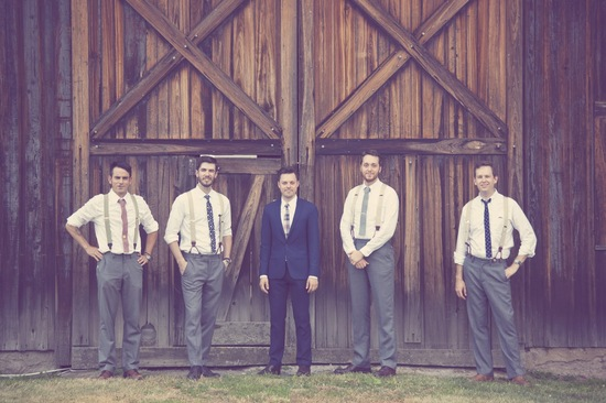 mix and match groomsmen with groom rustic outdoor wedding