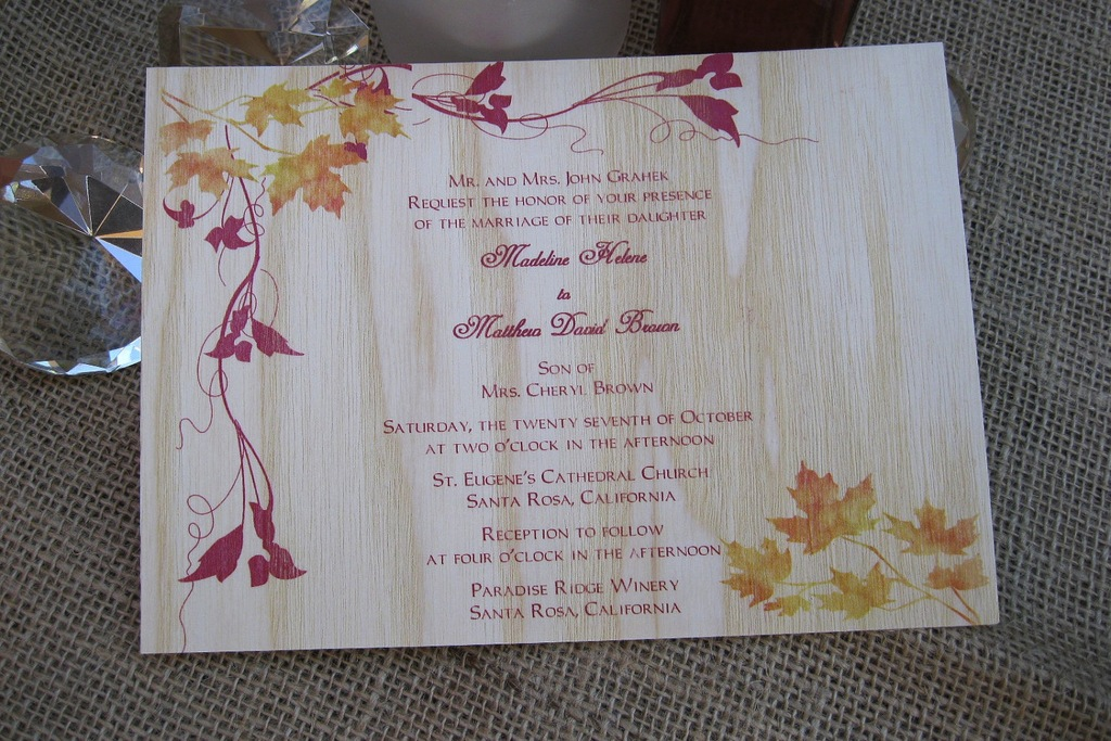 handmade wedding finds for fall weddings wood invitation