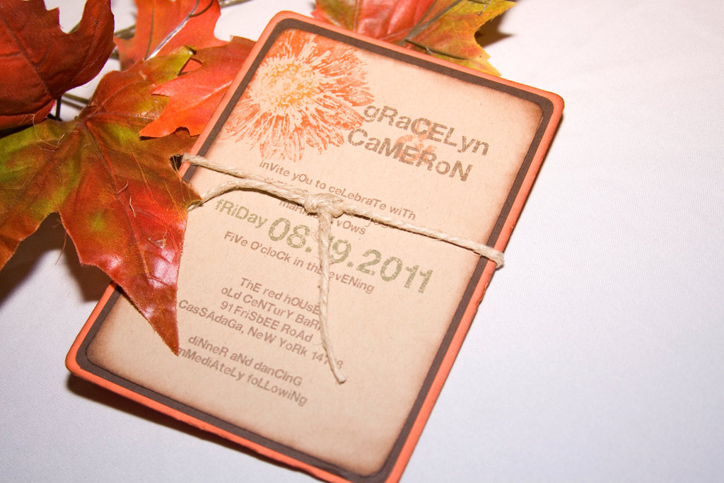 handmade wedding finds for fall weddings fall gerbera daisy invitation