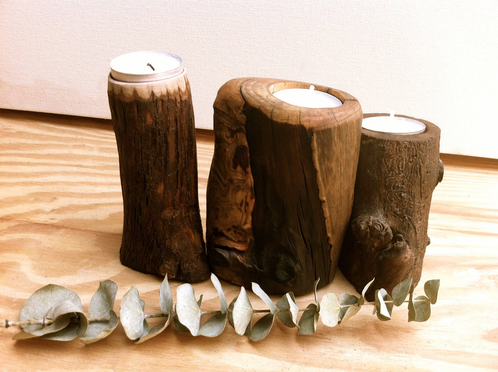 handmade wedding finds for fall weddings wood candle holders