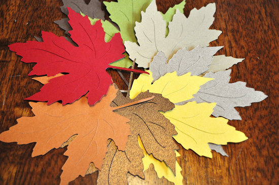 handmade wedding finds for fall weddings colorful paper leaves