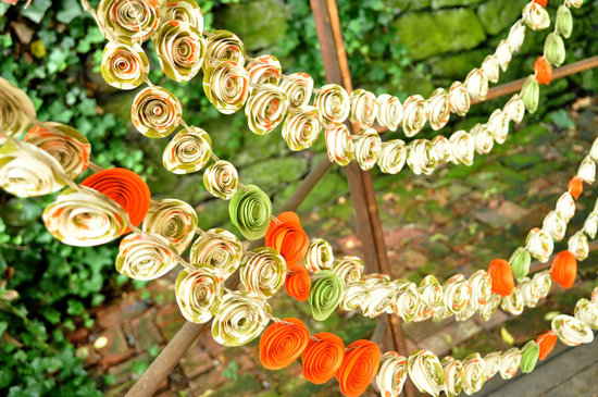 handmade wedding finds for fall weddings paper flower garland