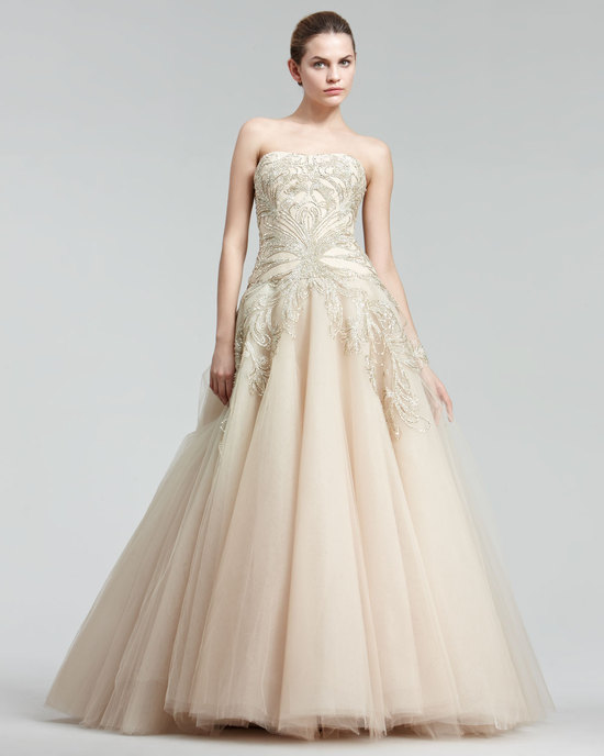 wedding splurge top 10 for fall 2012 Marchesa cream beaded ball gown