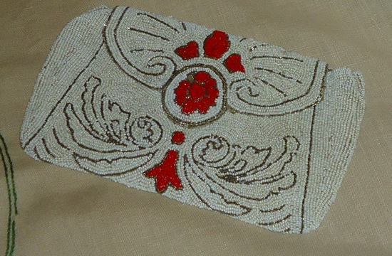 Something Old wedding accessories for brides beaded clutch pop of red