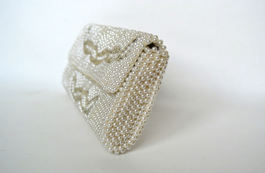Something Old wedding accessories for brides beaded clutch 1960s pearl
