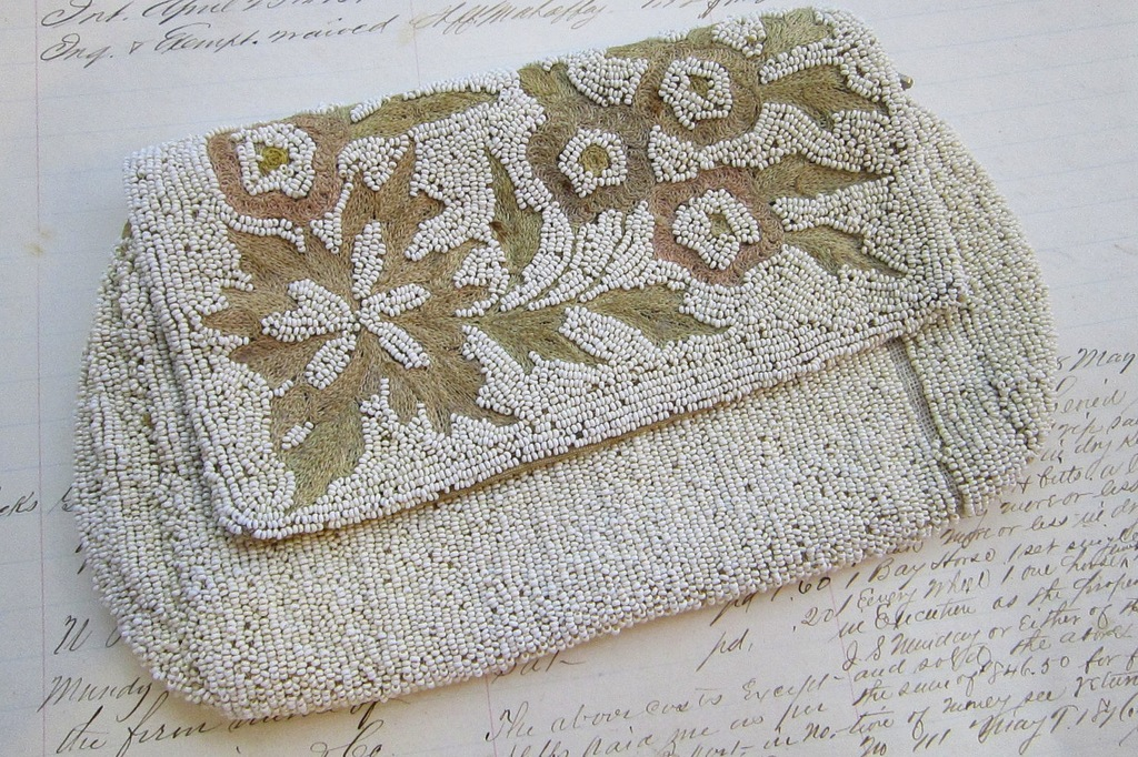 Something Old wedding accessories for brides beaded clutch antique microbead