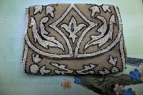 Something Old wedding accessories for brides beaded clutch art deco beige ivory taupe