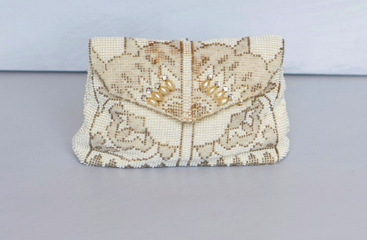 Something Old wedding accessories for brides beaded clutch 1930s cream gold