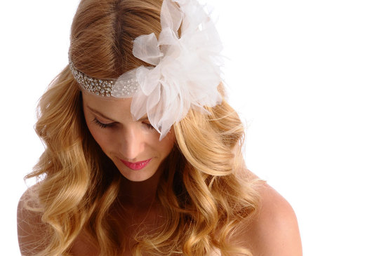 brides style guide retro romantic wedding style all down hairstyle beaded headpiece