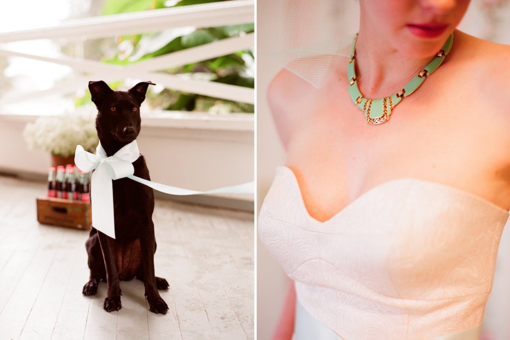 romantic outdoor wedding with Anthropologie inspired statement necklace pup bearer