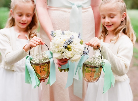 romantic wedding details outdoor weddings bride with flower girls