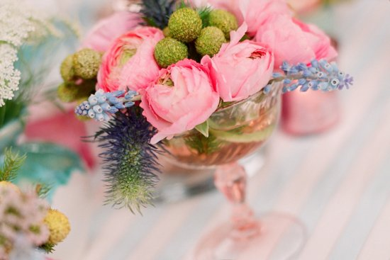 romantic outdoor wedding with Anthropologie inspired whimsical centerpieces