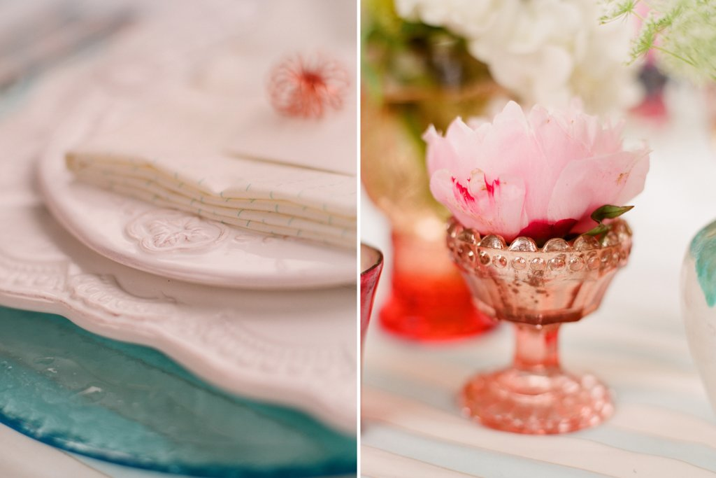 romantic outdoor wedding with Anthropologie inspired pink copper teal table