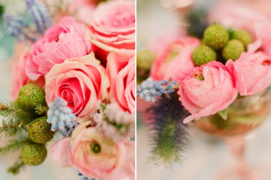 romantic outdoor wedding with Anthropologie inspired pink peony rose centerpieces