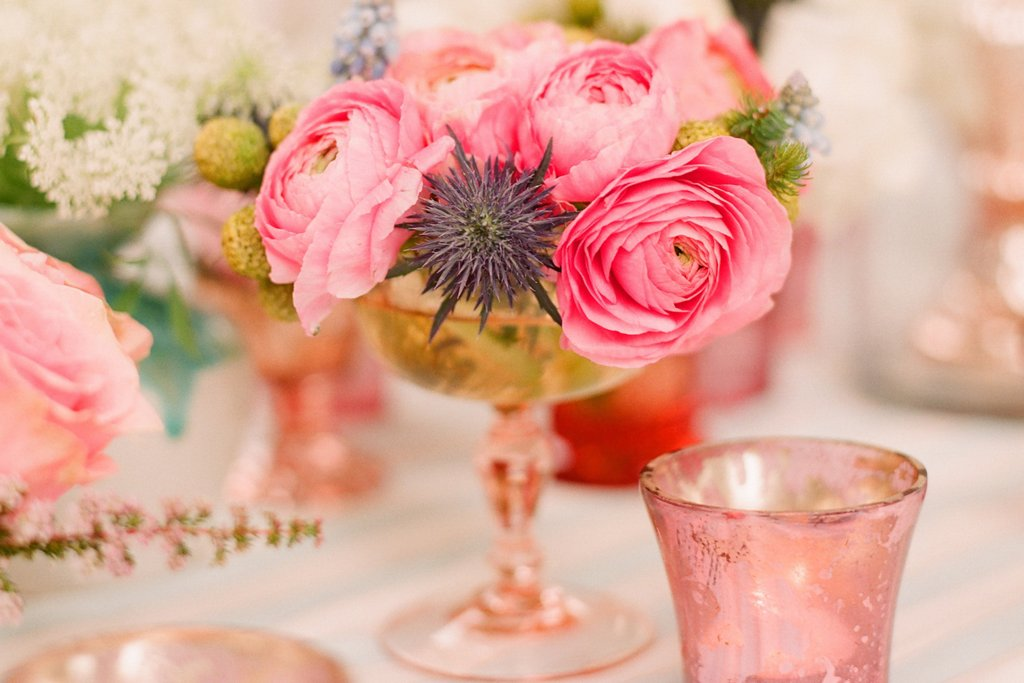 romantic outdoor wedding with Anthropologie inspired pink peony centerpiece copper vase