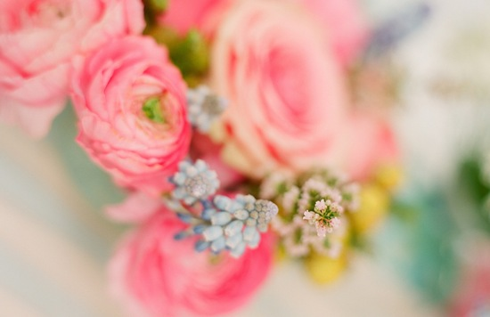 romantic wedding flowers light pink blue yellow Anthropologie inspired
