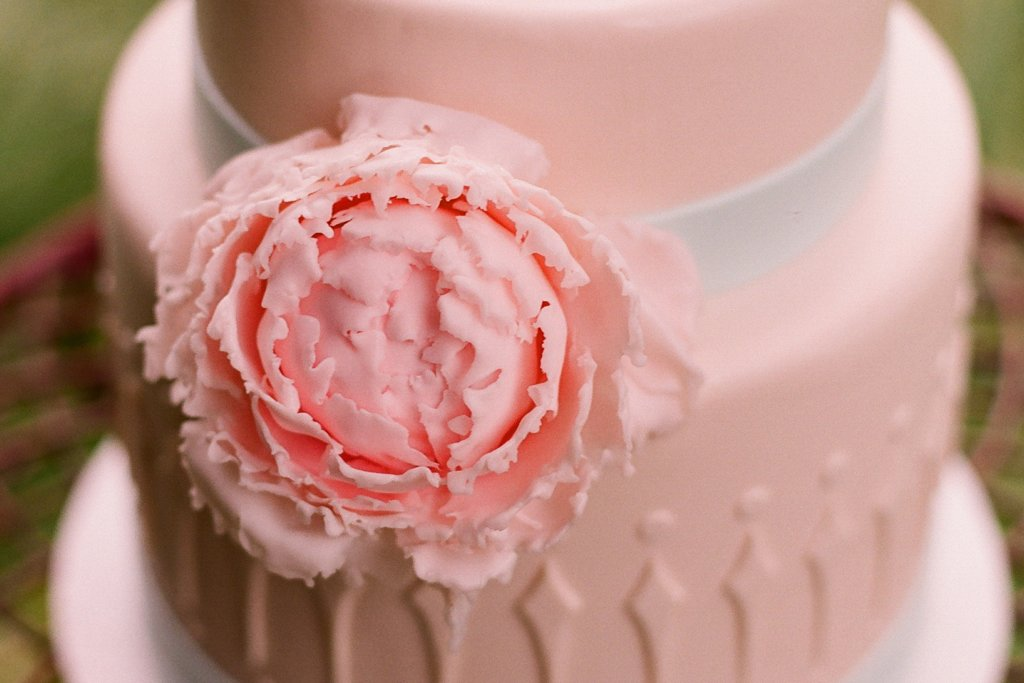 romantic outdoor wedding with Anthropologie inspired decor pink cake detail