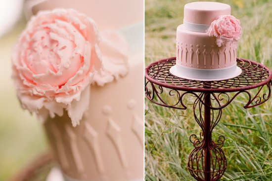 romantic outdoor wedding with Anthropologie inspired decor details light pink cake