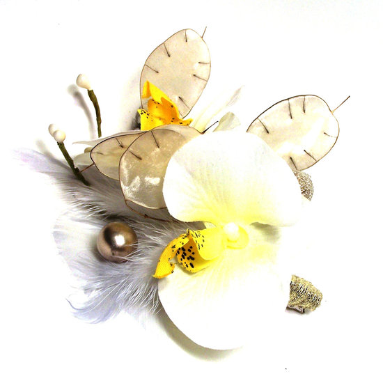 banana bread wedding color inspiration bridal fascinator