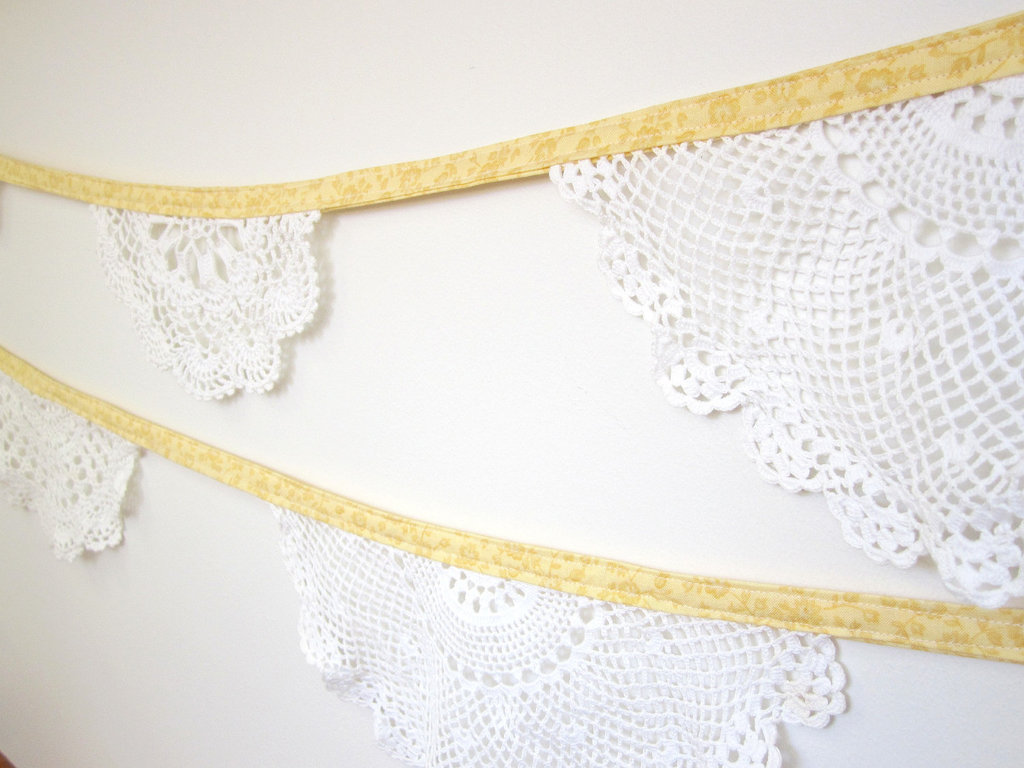 banana bread wedding color inspiration doily bunting