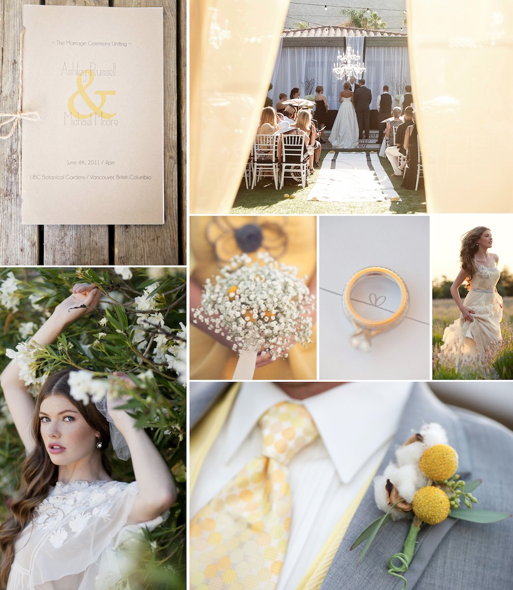 Romantic wedding colors: Pale Yellow, Beige, Taupe and Ivory