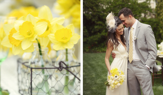 photo of gorgeous yellow wedding flowers outdoor wedding centerpieces bride and groom