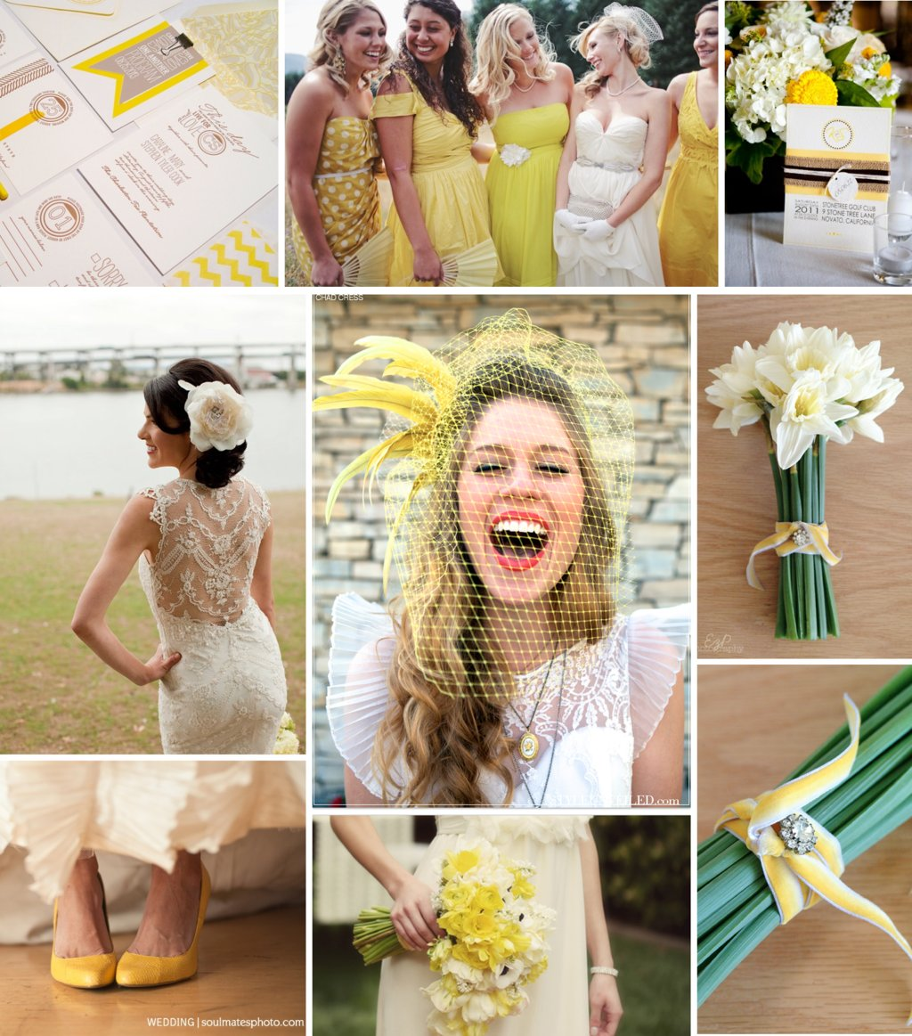 Yellow, Beige, Ivory wedding color inspiration