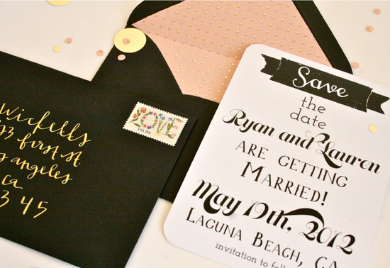 photo of wedding invitations to obsess over black ecru peach gold