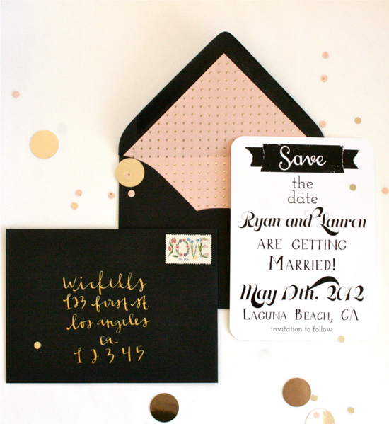 wedding invitations to obsess over black ecru peach gold