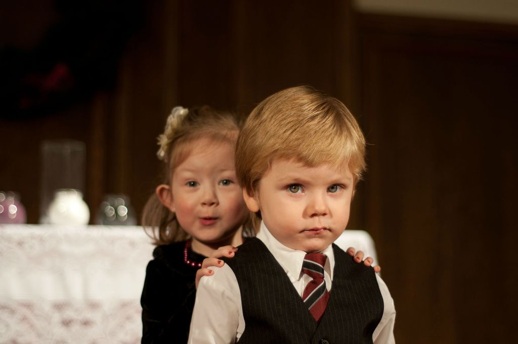 funny wedding photos escape from wedding planning stress Unforgettable Ring Bearers with flower girl