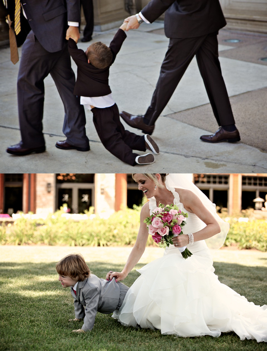 funny wedding photos escape from wedding planning stress Unforgettable Ring Bearers dragged down the