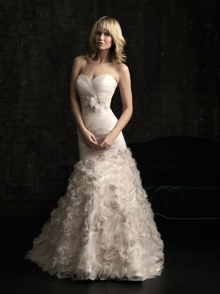 gorgeous 2013 wedding dress by Allure bridal gowns soft peach mermaid